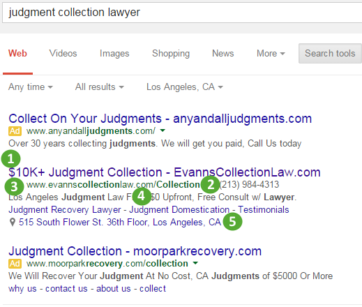 ppc-judgment-collection-lawyer-AD-competitive-analysis-case-study